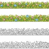 Seamless border of cartoon grass and flowers. — Stock Vector