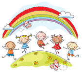 Kids jumping with joy underneath a rainbow — ストックベクタ