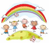 Kids jumping with joy underneath a rainbow — Stock Vector