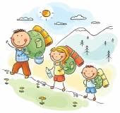 Family hiking in the mountains — Vector de stock