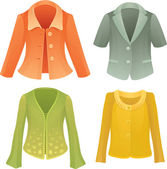 Four colorful vector jackets — Stock Vector
