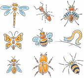 Set of different hand-drawn sketchy insects — Stock Vector