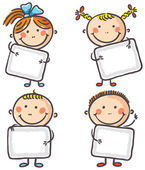 Four kids with blank signs — Vector de stock