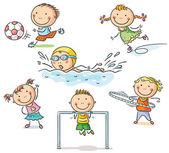 Dzieci i ich zajęcia sportowe — Wektor stockowy