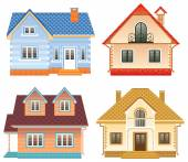 Front view of 4 different cottages — Stock Vector