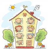 Big family is at home — Stock Vector