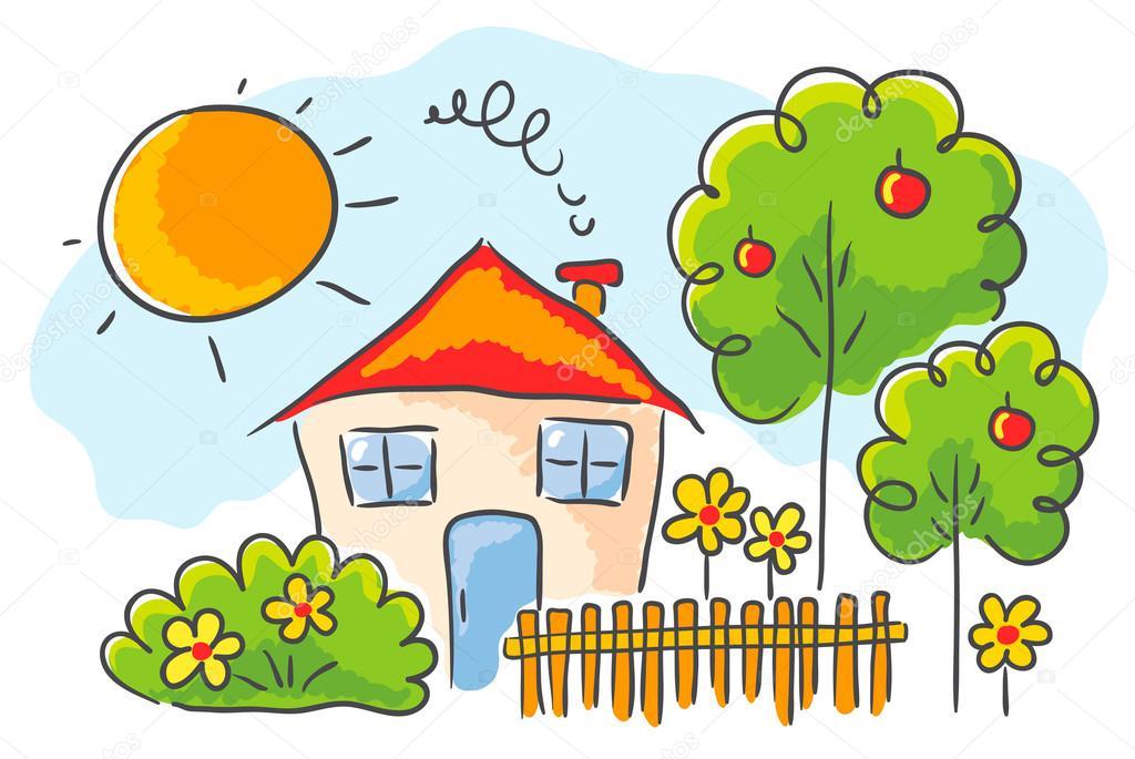 Dibujo de una casa de ni os vector de stock katerina for Casa jardin ninos