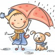 Girl and her puppy under the umbrella — Stock Vector #54163993
