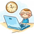Boy in glasses at the computer — Stock Vector #54164339