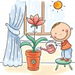 Child helping parents with the housework - watering flowers — Stock Vector #54166827