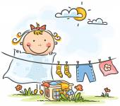 Little girl helping her mother with the laundry — Stock Vector