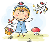 Girl gathering mushrooms in the forest on an autumn day — Stock Vector