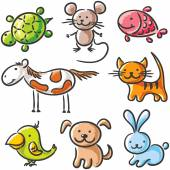 Set of sketchy pets — Stock Vector