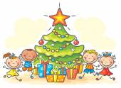 Kids getting presents for Christmas — Stock Vector