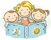 Mother and kids reading together — Stock Vector