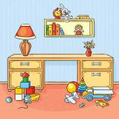 Children room with a lot of toys scattered on the floor — Stock Vector