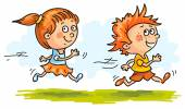 Boy and girl running quickly — Stock Vector