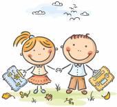 Kids with schoolbags — Stock Vector