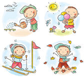 Boy's activities during the four seasons — Stock Vector