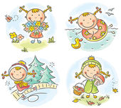 Girl's activities during the four seasons — Stock Vector