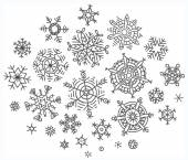 Set of different hand-drawn snowflakes — Stock Vector