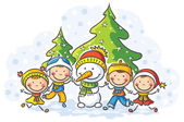 Sněhulák a děti na zimní den — Stock vektor