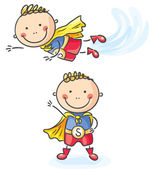 Superhero boy flying and standing — Stock Vector