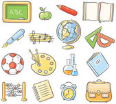 Set of 16 school thing representing different subjects — Stock Vector