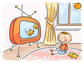 Child watching TV in his room — Stock Vector