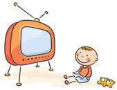 Criança assistindo tv, isolado — Vetorial Stock