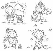 Little kids' autumn activities — Stock Vector