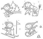 Kids winter outdoors activities — Stock Vector
