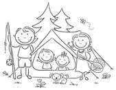 Family camping in the woods — Stock Vector