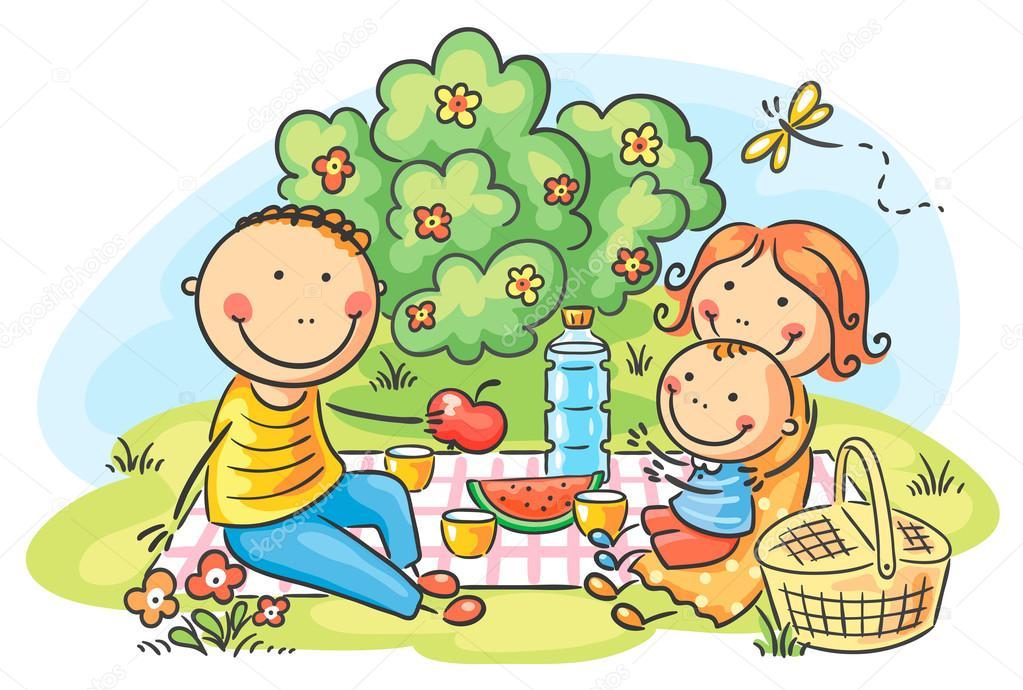 卡通家族有户外野餐 — 矢量图片作者 katerina_dav