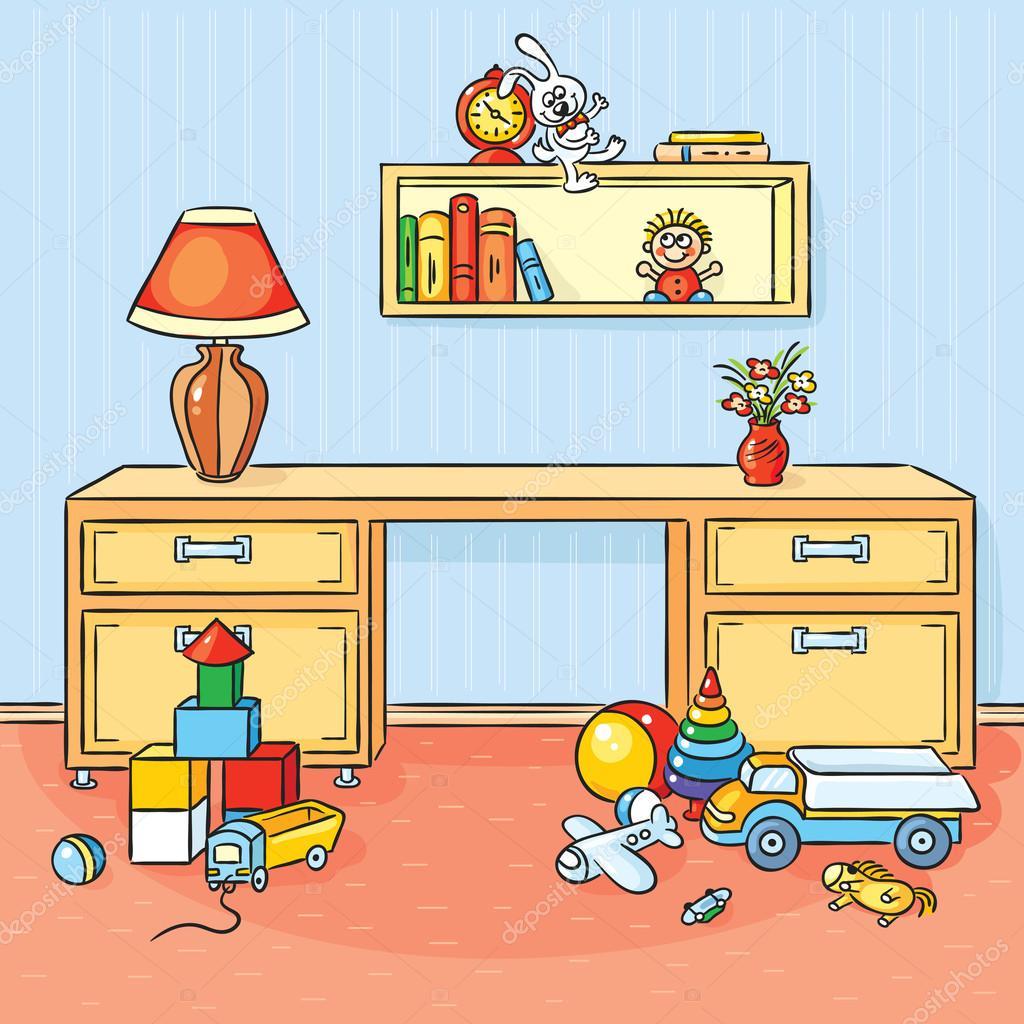 Desenho No Quarto ~ quarto de crianças com muitos brinquedos espalhados no ch u00e3o u2014 Vetor de Stock u00a9 Katerina Dav