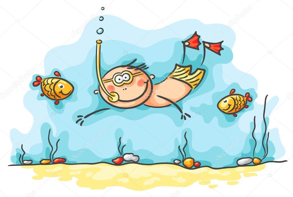 Plongeur Heureux Nager Sous Leau Avec Les Poissons Image Vectorielle Katerina Dav 54166705