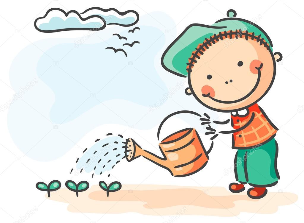 Crianças menino atividades regar as couves de primavera ...