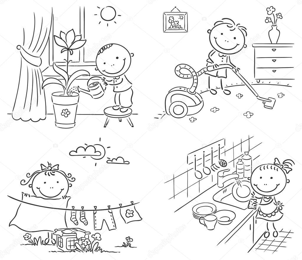 Line Art Help : Niños ayudando a sus padres con las tareas del hogar