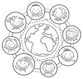 Global communication - kids round the globe — Stock Vector