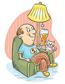 Man drinking beer in an arm-chair — Stock Vector