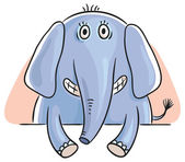 Elephant peeping out — Stock Vector