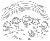 Kids Jumping With Joy On a Hill Under Rainbow — Stock Vector