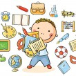 Boy with School Things — Stock Vector #61796099