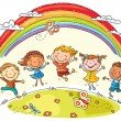 Kids Jumping with Joy under Rainbow — Stock Vector #61796271