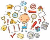 Cartoon Child with Symbols — Stock Vector