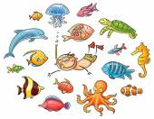 Diver with a Set of Sea Animals — Stock Vector