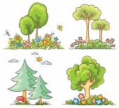 Cartoon Trees with Flowers — Stock Vector