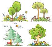 Cartoon Trees with Flowers — Stockvektor