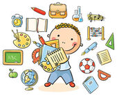 Boy with School Things — Stock Vector