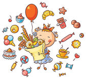 Happy Girl with Sweets — Vector de stock
